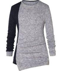 asymmetric color block pullover sweater