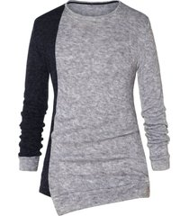 asymmetric color block pullover sweater