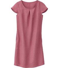 linnen jurk met korte mouw met geplooid rugpand, rozenhout 36