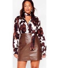 womens the hustle plus faux leather mini skirt - chocolate