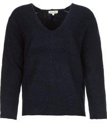 gebreide trui met v-hals fenne  blauw