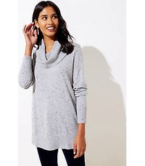 loft flecked luxe knit cowl neck tunic sweater