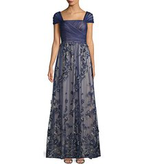 floral embroidered cap sleeve gown