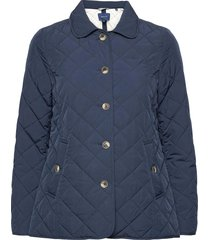 d1. quilted mid length jacket doorgestikte jas blauw gant