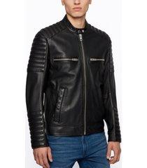 boss men's jakoby leather jacket