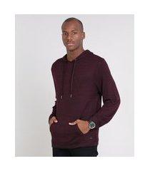 blusão masculino em tricô com bolso e capuz vinho