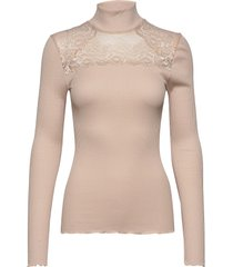 silk t-shirt turtleneck regular ls turtleneck polotröja rosa rosemunde