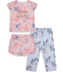 petit lem little girl's & girl's sleep unicorn squad 3-piece tie-dyed pajama top, shorts & pants set - pink multi - size 6x