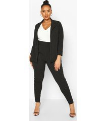 plus pinstripe tailored blazer trouser co-ord, black
