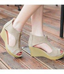 verano ahueca hacia fuera las cuñas sandalias para las mujeres