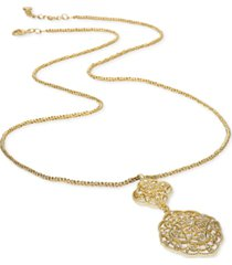 """charter club gold-tone double crystal flower long pendant necklace, 36"""" + 2"""" extender, created for macy's"""