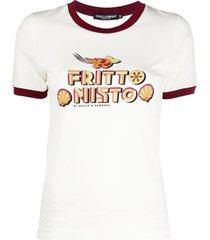 dolce & gabbana graphic print ringer t-shirt - neutrals