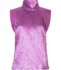 rachel comey funnel neck crease effect knit top - purple