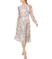 tommy hilfiger diana floral-print chiffon midi dress, created for macy's