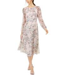 tommy hilfiger diana floral-print chiffon midi dress, created for macy's