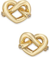 kate spade new york crystal accented love knot stud earrings