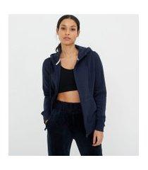 jaqueta esportiva básica com bolso canguru e capuz | get over | azul | gg