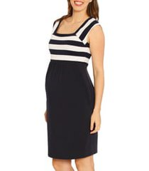 women's angel maternity fitted stripe maternity dress, size xx-large - blue