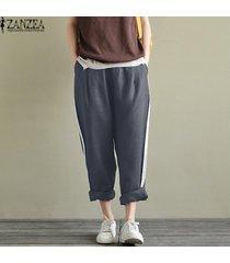 zanzea ocasional de las mujeres del tamaño extra grande de rayas pantalones sueltos pantalones largos de cintura alta -gris