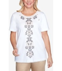 alfred dunner short sleeve center medallion embroidered knit top