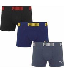 kit 3 cuecas puma boxer sem costura - masculino
