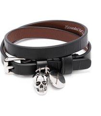 alexander mcqueen skull-motif wraparound bracelet - black