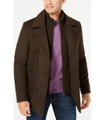 kenneth cole men's big & tall double breasted pea coat with bib