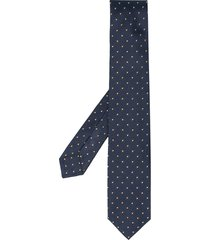 barba geometric silk embroidered tie - blue