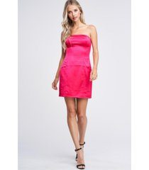 emory park stretch satin strapless woven dress
