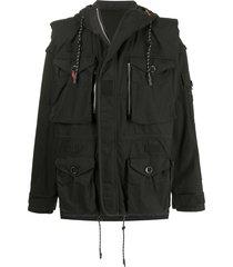maison mihara yasuhiro slouchy hooded jacket - black