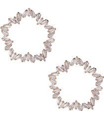 cz by kenneth jay lane women's look of real rose goldplated & crystal earrings