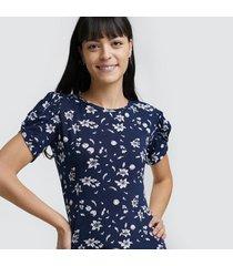camiseta m/c con estampado floral