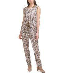 dkny sleeveless snake-print jumpsuit