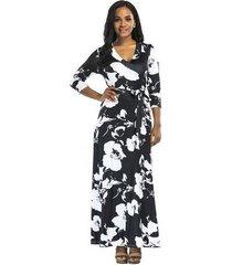 vestido largo de playa para mujer vestidos negros elegantes vestido ajustado de mujer con cuello en v imperio vestido estampado femenino con estampado floral maxi otoño-negro