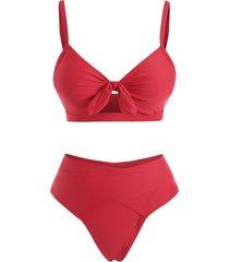 cut out criss cross tie front bikini swimwear
