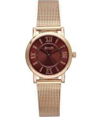 orologio solo tempo cinturino maglia milanese in acciaio rosato per donna