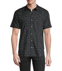 john varvatos men's jasper regular-fit printed shirt - sea - size s