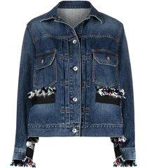 frayed panel denim jacket