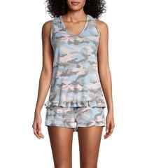tart women's jade 2-piece camo top & shorts set - pastel camo - size xl