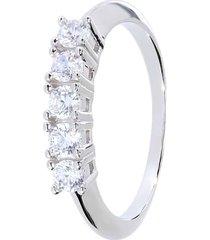 anello rivière in argento rodiato e zirconi per donna