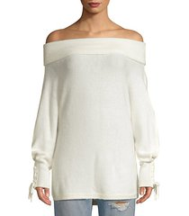 lace sleeve convertible sweater