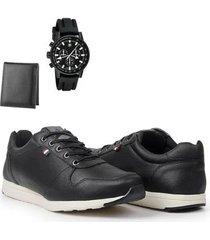 sapatênis masculino casual conforto + carteira + relógio - masculino