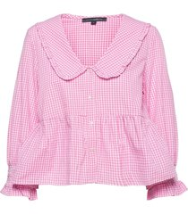 artina gingham embroidered top blus långärmad rosa french connection