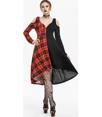 halloween plaid o ring cut out gothic dress