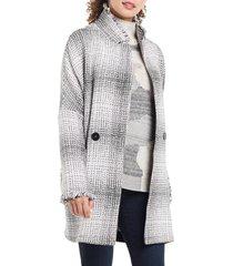 petite women's nic+zoe plaid please jacket, size medium p - grey