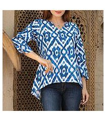 cotton tunic, 'azure beauty' (india)