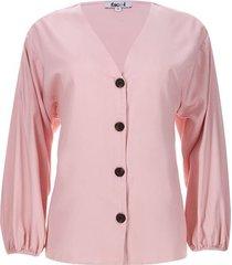 blusa unicolor botones en frente color rosado, talla 10