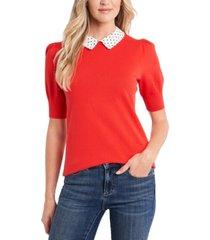 cece cotton collared puff-sleeve sweater