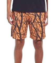 men's john elliott duck club mesh athletic shorts, size x-large - orange