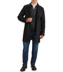 cole haan men's laminated topper coat with attached bib - marine - size s